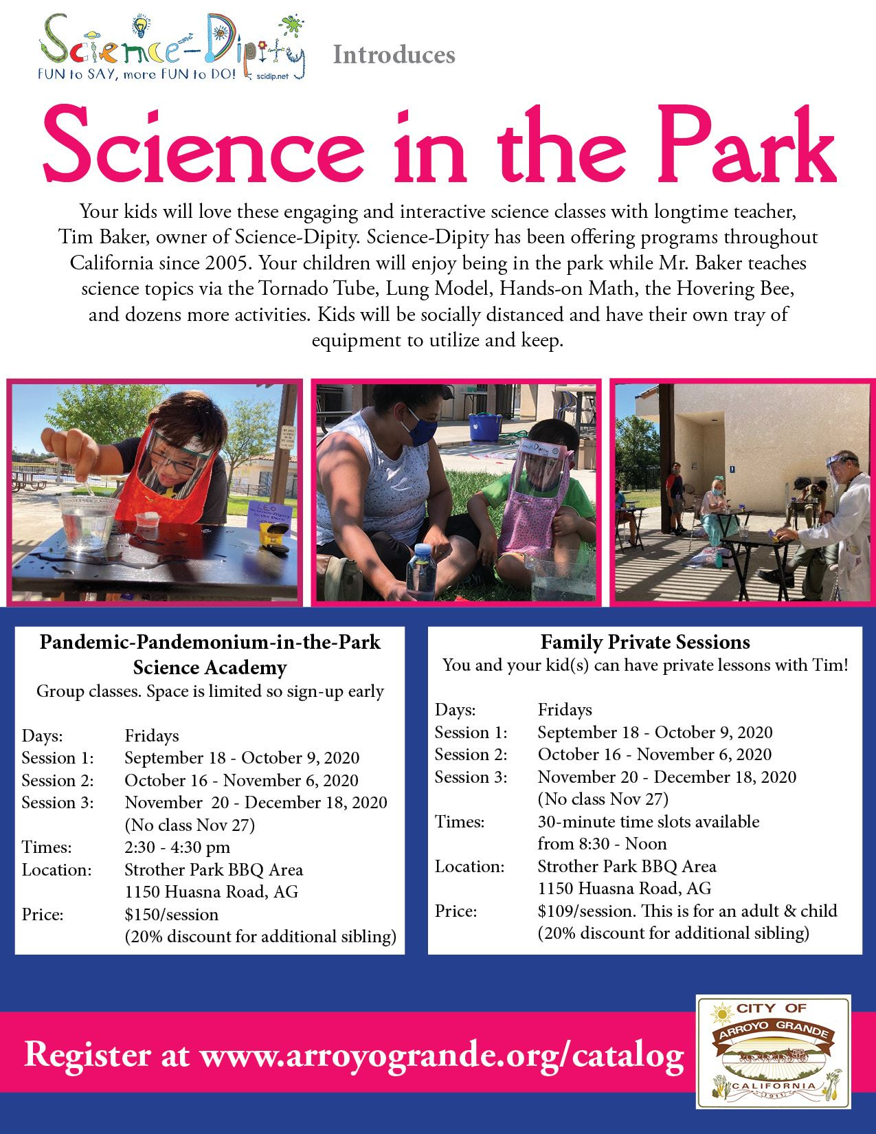 Science in the Park Fall 2020 Flyer