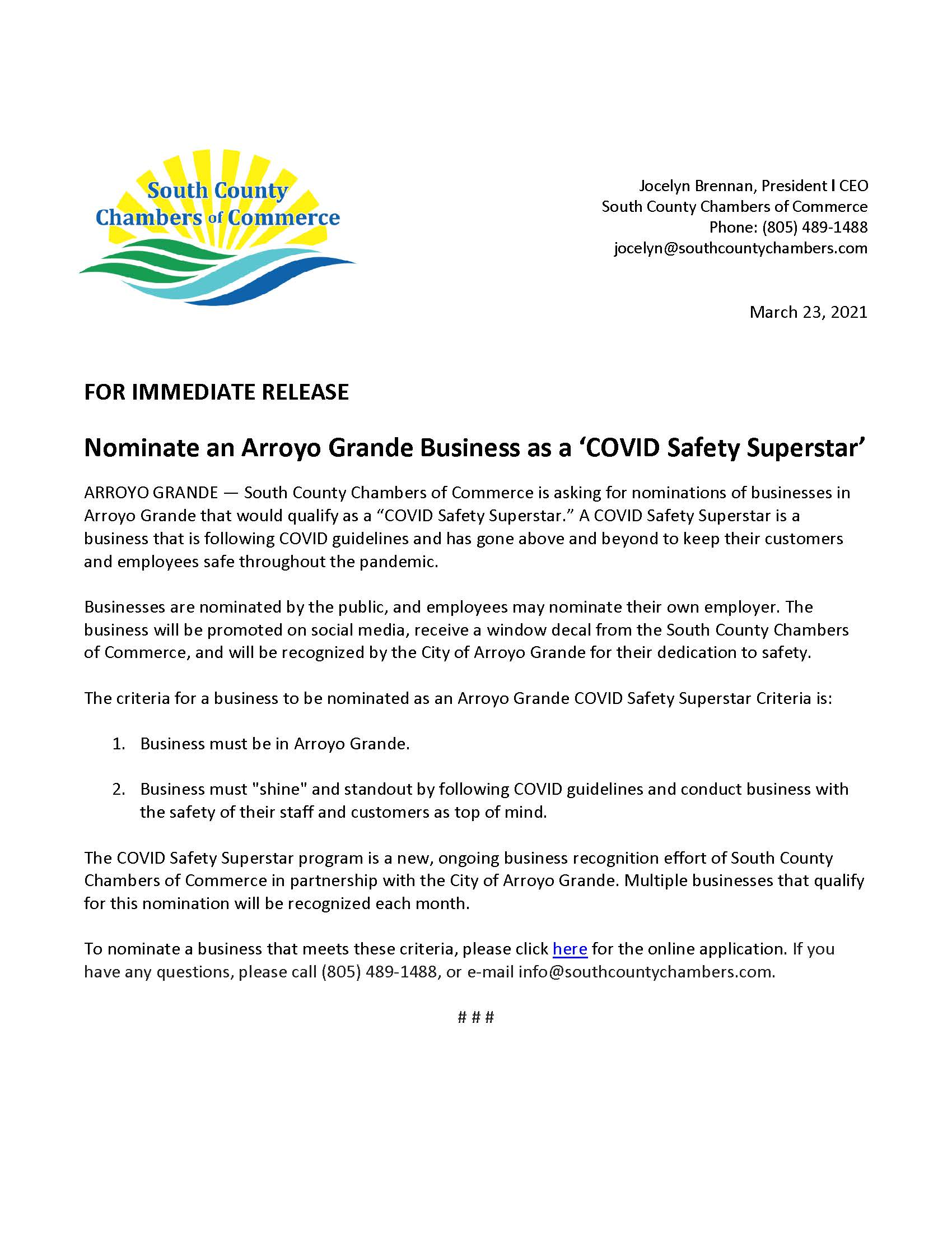 COVID Safety Superstar press release 3-23-21