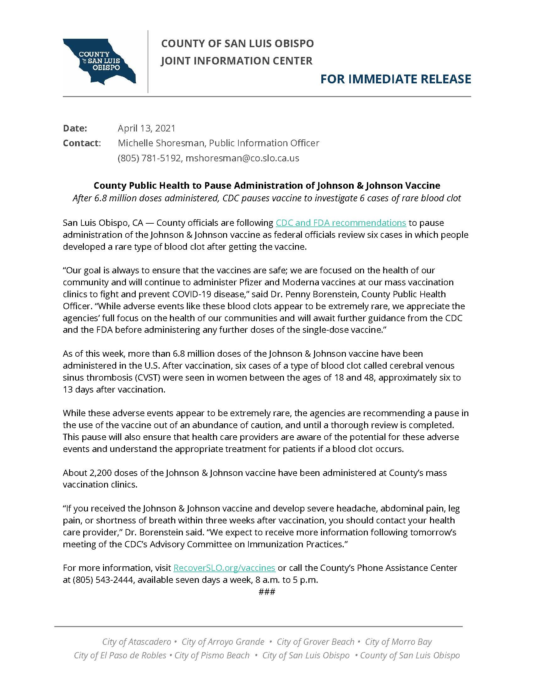 4-13-21 SLO County to Pause Administration of Johnson  Johnson Vaccine