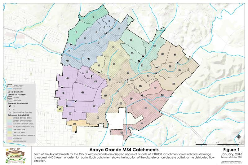 Arroyo Grande map with MS4 catchments outlined
